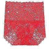 N\P Ropa interior de encaje sexy para mujer, de algodón rojo M