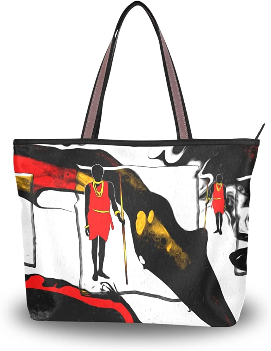 JSTEL Women Large Tote Top Handle Shoulder Bags African Motive Ethnic Retro Vintage Patern Ladies Handbag