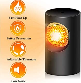 Wuudi Mini calentador de ventilador eléctrico, calentador de escritorio ligero para oficina doméstica, calentamiento rápido, protección contra sobrecalentamiento, silencioso, seguro, blanco (negro)