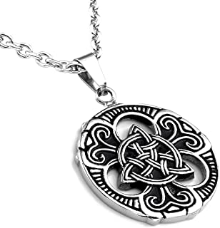 Stainless Steel Retro Vintage Old Style Thor's Hammer Odin Axe Celtic Knot Triskelion Dragon Mysterious Symbol Pendant Necklace 22 Inch Chain