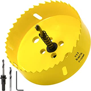 Acekit 4 inch Hole Saw With 3/8 Arbor HSS Bi-Metal Hole Saw Blade And Variable Teeth Pitch For Wood,Ceiling,Plastic Board,...