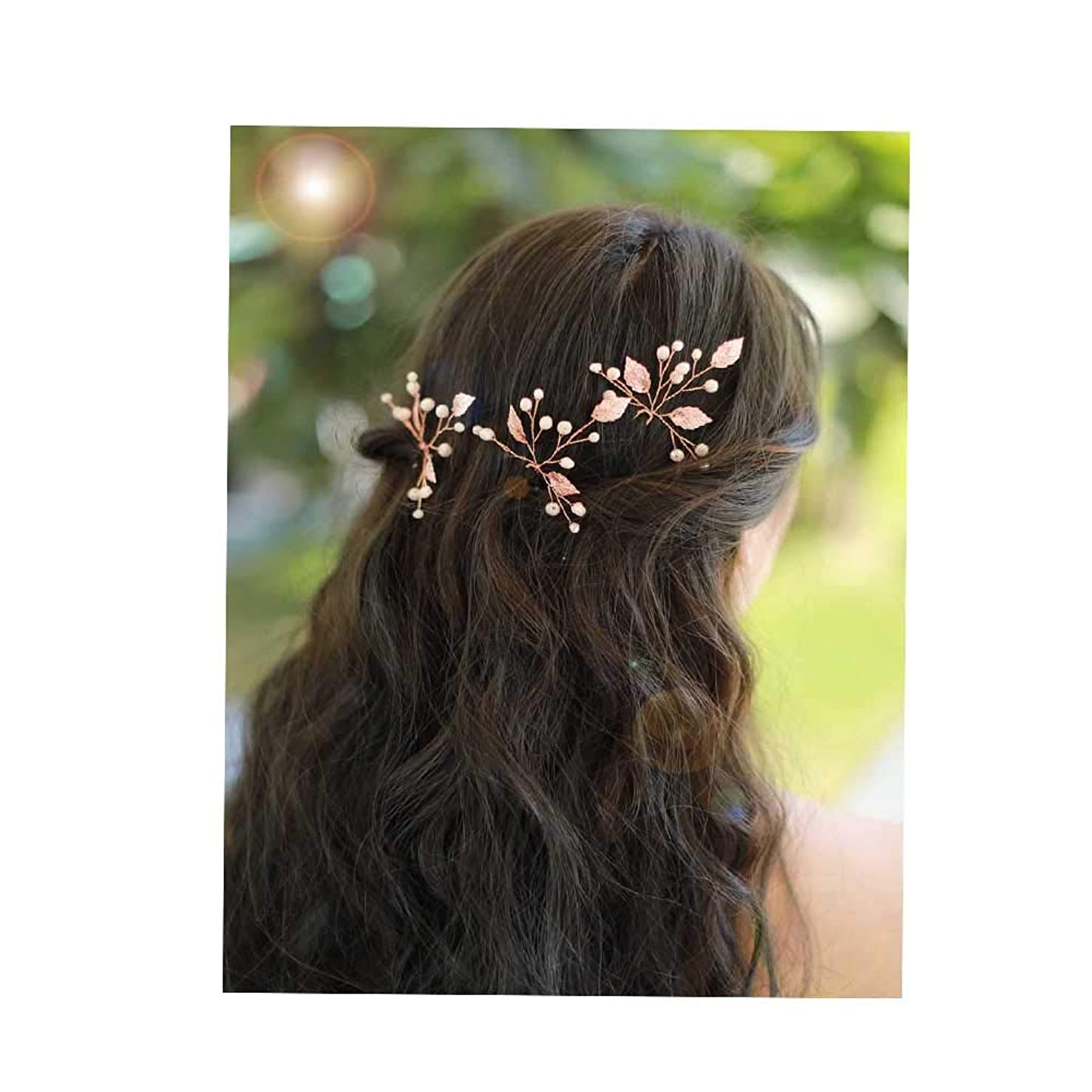 Missgrace Bridal Crystal Leaf Rose Gold Hair Pins Women Crystal Headpiece Wedding Rose Gold Leaf Hair Pins Clip Hair Jewelry Wedding Hair Accessories for Festival and Party Set of 3