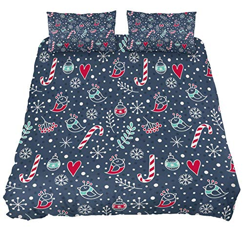Eslifey Christmas Bird Love Red Heart Pattern Duvet Cover Set 3 Piece Bedding Set Comforter Cover Zippers Pillowcases for Bedroom, Single Size 55' x 79'
