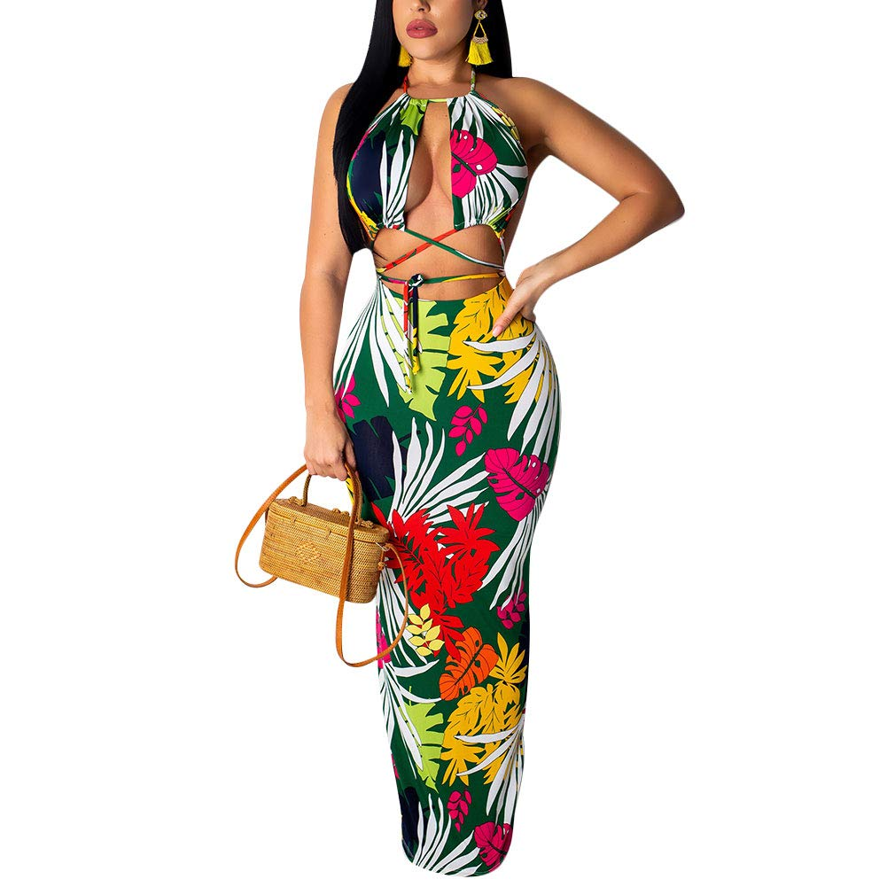 Available at Amazon: Women's Sexy Two-Piece Maxi Dress Halter Floral Printed V Neck Sleeveless Summer Beach Party Clubwear