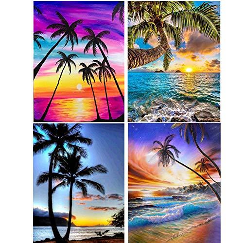 4 juegos de pintura de diamantes 5D, pintura de diamantes 5D, con brocas, madera de coco, playa, paisaje de diamantes, bordado, punto de cruz, para decoración de pared del hogar (30 x 40 cm)