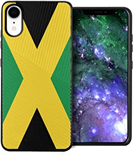 Capsule Case Compatible with iPhone XR [Embossed Diagonal Lines Hybrid Dual Layer Slim Armor Black Case] for iPhone XR- (Jamaica Flag)
