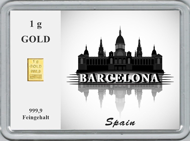 New Edition 1g Goldbarren 999,9 FeinGold in Motivbox Städte der Welt - BARCELONA  B01N6MNTX8 | Marke