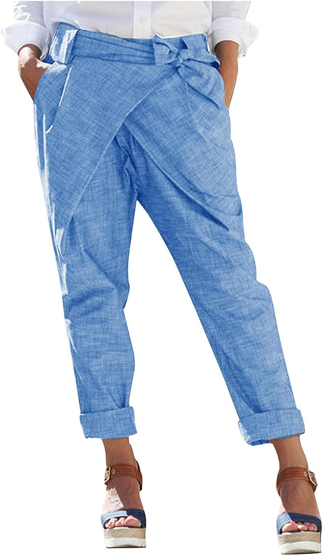 JPVDPA Women Basic Style Workout Pants Soft Comfy Bandage Long Pants Casual Loose Solid Pocket Trousers