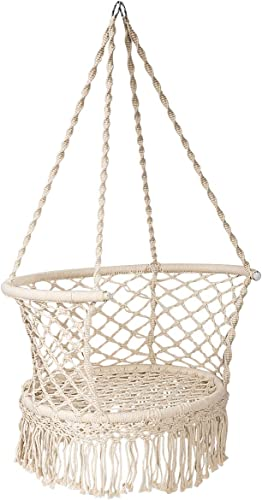 lowest Giantex Hanging Hammock outlet sale Chair, Macrame Hanging Chair 330 Pounds Capacity, Cotton Rope Handwoven Tassels Porch Swing Chair for popular Bedroom, Living Room, Yard, Garden, Balcony, Indoor / Outdoor (Beige) outlet online sale