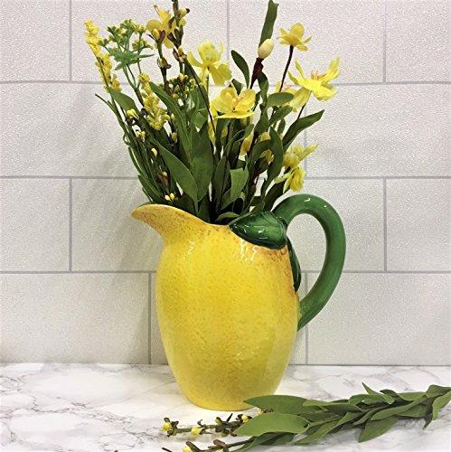 Jarrón grande de cerámica amarillo limón