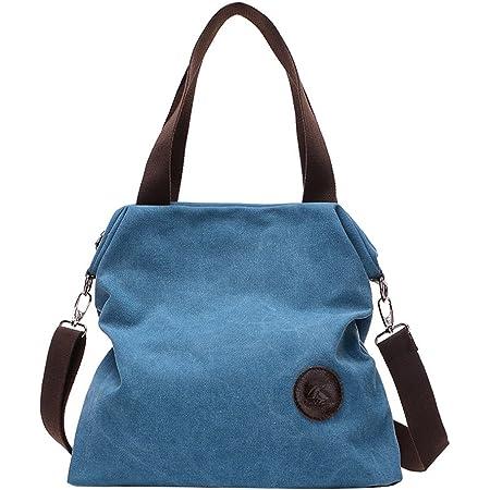 PB-SOAR Damen Canvas Tasche Schultertasche Handtasche Umhängetasche Shopper Beuteltasche 41x36x10cm (B x H x T), 5 Farben auswählbar (Blau)