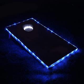 Cornhole Lights, Cornhole Led Lights fit for Cornhole Boards, Cornhole Bags, Backyard Bean Bag Toss Game, Two White Cornhole Rings Lights and Two Cornhole Edge Lights