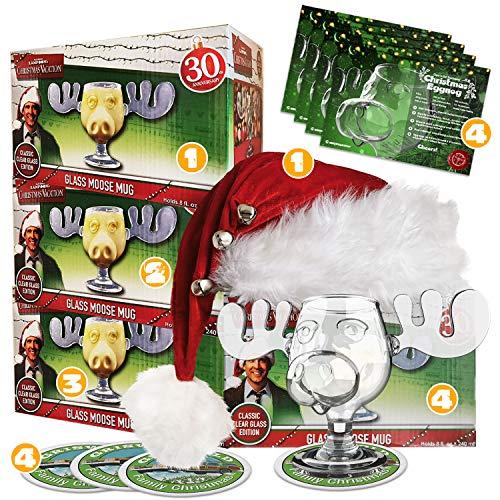 4er Set Schöne Bescherung Elchglas Christmas Vacation Moose Mug aus Glas offiziell lizensiert in Warner Brothers Fotobox inklusive 1 Clark Griswold Weihnachtsmann Mütze