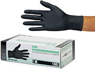 Guantes Desechables de Nitrilo 1000 (10x100) Unidades Caja, (M, Negro) Guantes de examen, sin latex, sin polvo, no estériles, disposables medical gloves, blue Medium