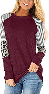 Vielone_She VIELONE Women Teen Girls Leopard Sleeve Jersey Shirts, Crew Neck Striped Pullover Tees Contrasted Tunic Blouse Patchwork Flowy Tops, Plus Size