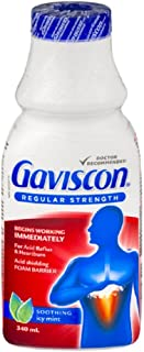 Gaviscon Regular Strength Liquid Soothing Icy Mint, Long-lasting Acid Reflux and Heartburn Relief, 340 ml