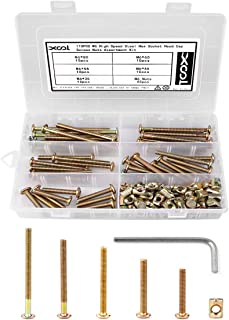 Bolts Nuts Kit, M6 Hex Socket Head Cap Screws Nuts 110PCS for Crib Bunk Bed Furniture Cot, Barrel Bolt Nuts Hardware Replacement Kit Made of Plated Zinc High Speed Steel, 1 Hex Key for Free