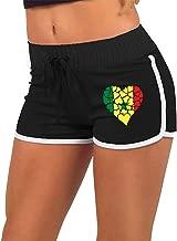 Women's Sexy Hot Pants Senegal Flag Heart Love Low-Rice Gym Workout Raves Hot Pants