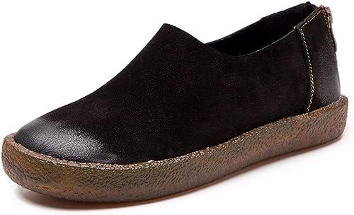 GTVERNH Chaussures Femme Mode Un Cuir Tête Ronde Muffin épais Bas De Chaussures des Chaussures en Cuir Souple Et Douce à Fond.