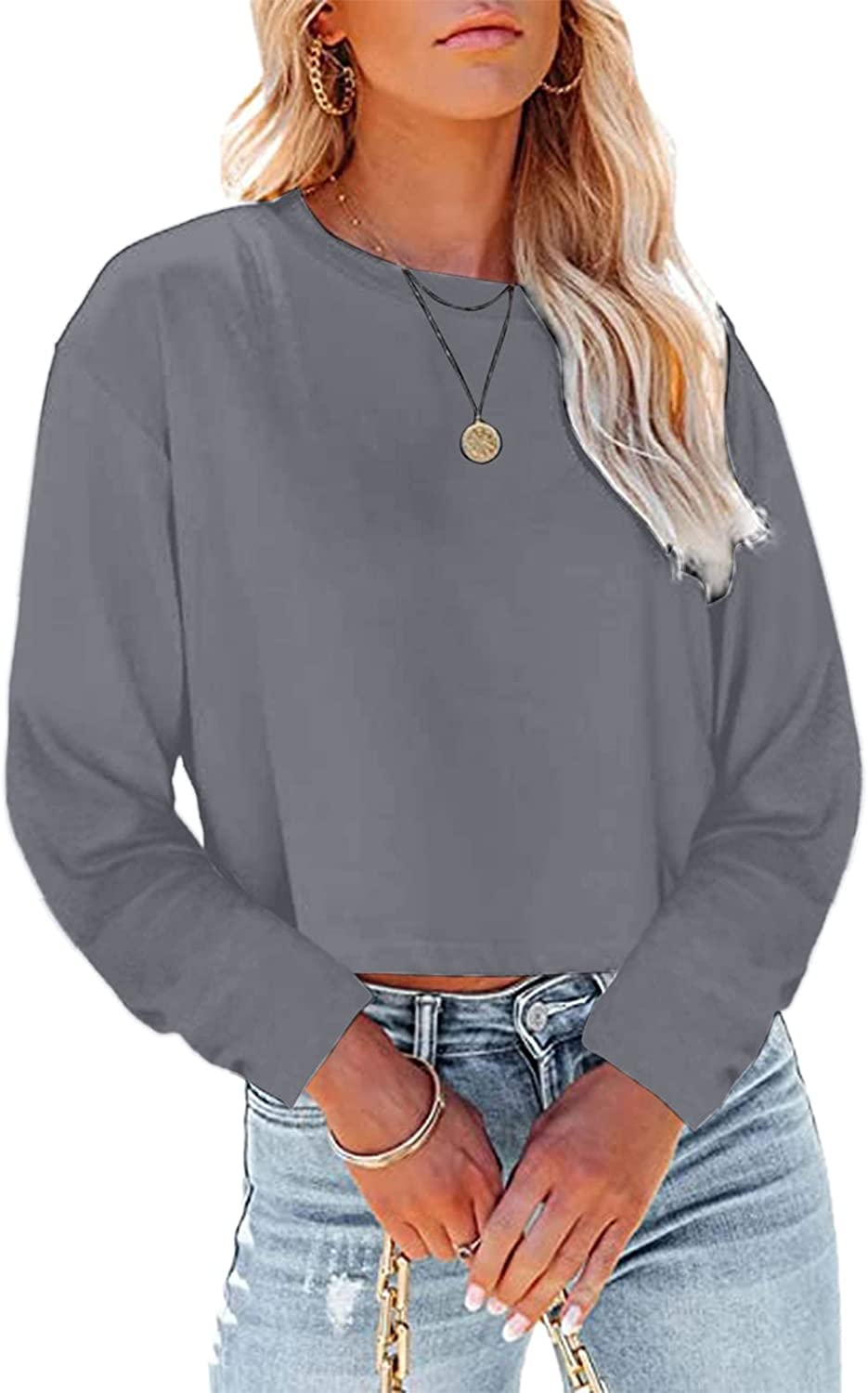 JWIN Women's Solid Color Stripped Round Neck Casual Pullover Long-Sleeved T-Shirt Stretchy Casual Plus Size Crop Sweatshirt Gray