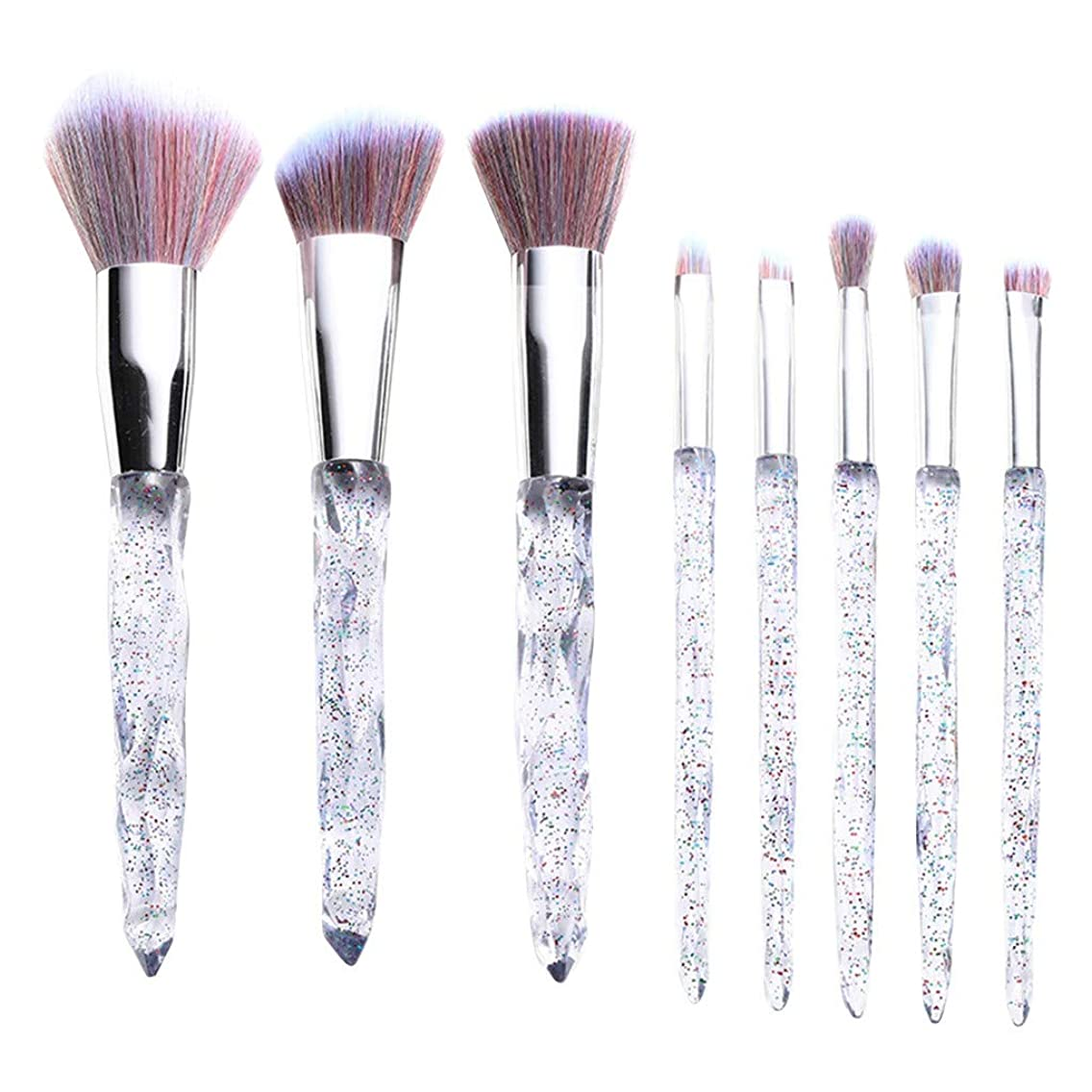 NOGOQU 8 Pcs transparent diamond rainbow Premium Powder Foundation Bronzer Eye Shadow Eyebrow makeup brush set for EVERYBODY