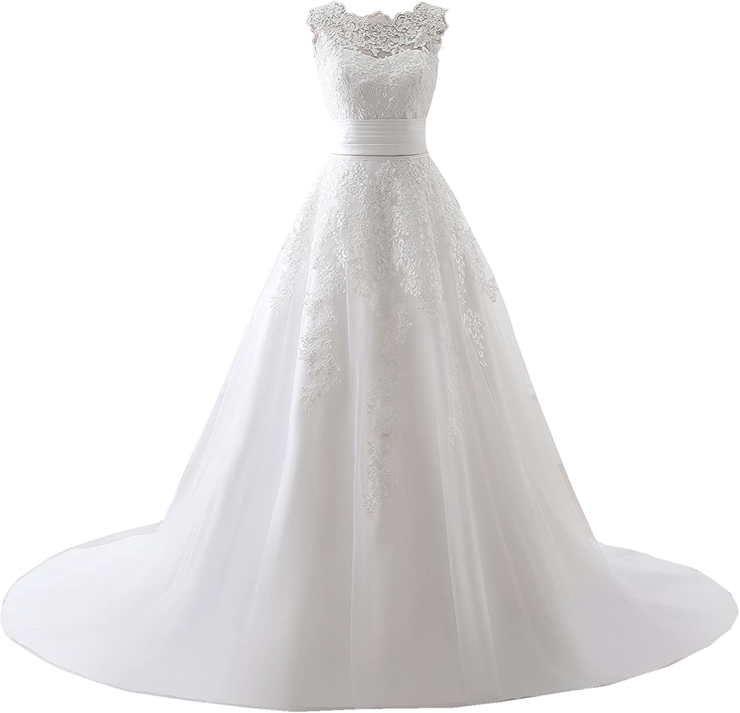 Engerla Women's Lace Sweep Train Straps Wedding Dress with Removable Skirt