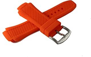 Swiss Legend 19MM Orange Silicone Rubber Watch Strap & Silver Stainless Buckle fits 53mm Neptune Watch
