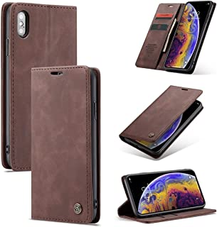 SHUANGRUIYUAN with Card Slot & Holder & Wallet, -013 Multifunctional Retro Frosted Horizontal Riff Leather Case for iPhone Xs Max (Color : Coffee)