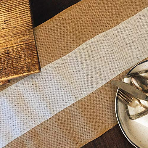 Designer Burlap Table Runner w/White Center Strip - for Farmhouse-Style Dining Room - Jute Fabric Placemats or Centerpieces - Rustic Home Decor for Outdoor Settings - Long Roll, 12 Inches x 6 Feet