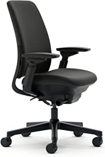 Steelcase Amia Task Chair: Adjustable Back Tension - LiveLumbar Support - Seat Slider - 4 Way Adjustable Arms - Black Frame/Black Fabric