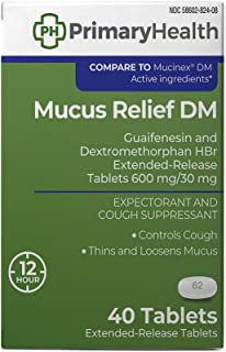 Primary Health Mucus Relief Dm Guaifenesin 600mg, Dextromethorphan 30mg, Extended-Release Tablets, 40Count