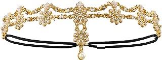 Metme 20s Head Chain Headband Hair Jewelry Forehead Headpiece for Women