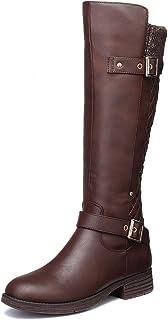 gracosy Rodilla Alta Botas Mujer Tacón Bajo Zapato Señoras Nieve Botas Mujer Botas de Cuero Piel Forrado Invierno Cálidas ...