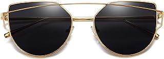 SOJOS Cat Eye Mirrored Flat Lenses Street Fashion Metal...
