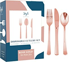90 Rose Gold Plastic Silverware Party Utensils Set – Heavy Duty Plastic Disposable Cutlery (30 Spoons, 30 Forks & 30 Knives) Ideal for Rose Gold-Themed Elegant Parties, Birthdays & Luxury Weddings