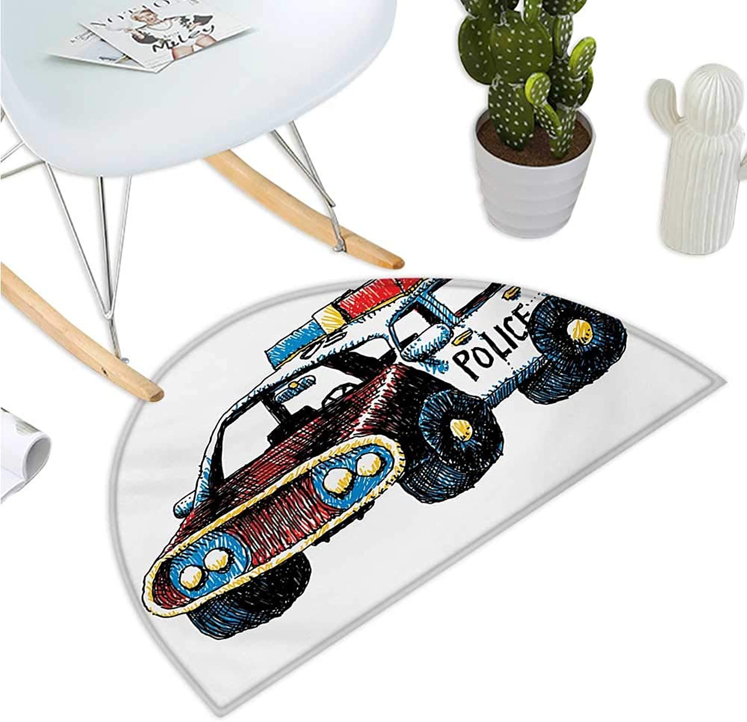 Police Semicircular Cushion Cartoon Hand Drawn Police Car Unusual Design with Sketchy coloring Print Bathroom Mat H 51.1  xD 76.7  Red Yellow and bluee
