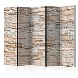 murando Biombo Piedras 225x172 cm de Impresion Unilateral en el Lienzo de TNT Decoracion Foto Biombo de Madera con Imagen Impresa Separador Grande Home Office Beige f-B-0018-z-c