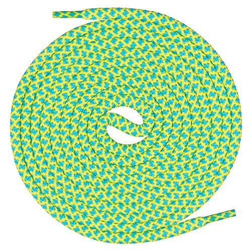 Mount Swiss runde Premium-Schnürsenkel für Arbeitsschuhe Wanderschuhe und Trekkingschuhe - 100% Polyester - extrem reißfest - ø 5 mm - Farbe Türkis-Lemon Länge 60cm