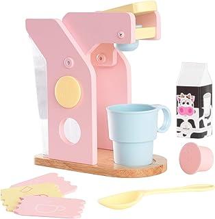 KidKraft 63380 lekset kaffe köksleksak av trä för barn, pastellfärger
