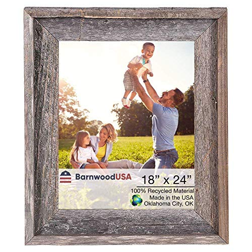 BarnwoodUSA | Farmhouse Style Rustic 18x24 Picture Frame | Signature Molding | 100% Reclaimed Wood | Rustic | Natural Weathered Gray