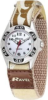 Ravel Boys Beige Army Camouflage Fabric Velcro Strap Watch R1507.08