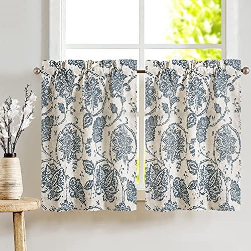 JINCHAN Kitchen Curtains 36 Inch Length Paisley Scroll Printed Linen Short Window Curtains Tiers for Bathroom Medallion Design Burlap Vintage Jacobean Floral Cafe Curtains 2 Panels Blue on Beige