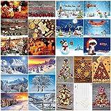 """'Scatola da 100 cartoline di Natale"""" di Edition Colibri: set di cartoline con un mix colorato di cartoline di Natale con 25 diversi disegni di 4 pezzi ciascuno in confezione pregiata (10642 - 10831)"""