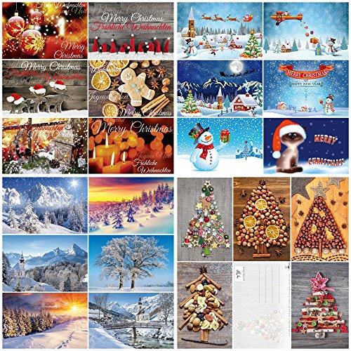 """Caja con 100 tarjetas de Navidad""""NAVIDAD"""" de Edition Colibri: Juego de postales con una colorida combinación de tarjetas de Navidad con 25 diseños diferentes de 4 en un paquete fino (10642-10831)"""
