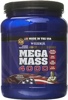 Weider MEGA MASS, Clean Anabolic Mass Gainer Formula, Smooth Chocolate, 1.98lbs