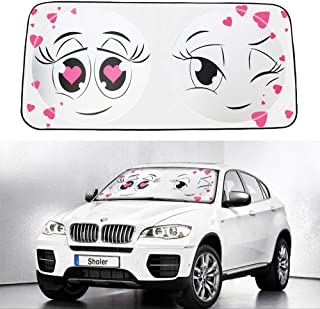 Car Sun Shade for Windshield with Love at First Sight Design, Foldable Auto Window Sunshade,Blocks UV Rays to Keep Your Vehicle Cool and Damage Free,Easy to Install by Sun Visor (Love at First Sight)