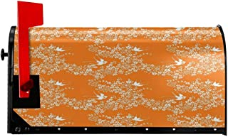 """NCXIAO Magnetic Mailbox Cover - 18""""W x 21""""H, Asian Style Spring Meadow Pattern with Branches in Full Blossom with Birds Nature,Mailbox Wraps Post Letter Box Cover"""