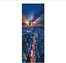 3D Decorative Film Privacy Window Film No Glue,Urban,Bangkok Skyline at Sunset Evening Thailand Cityscape Metropolis Architectural Photo,Blue Coral,for Home&Office