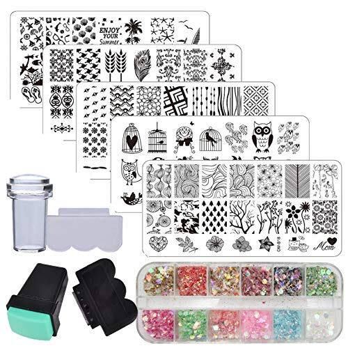 Nail Art Stamping Kit Owl Feather Geometric Nail Stamping Plate Template Chunky Glitter Flakes with Rubber Nail Stamper Scraper Equipment Tools Supplies (Mermaid)