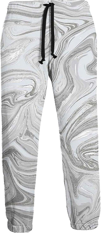 Mens Elastic Waist Sweatpants Grey Retro Waves Marble Joggers Sweatpants for Gym Training Sport Pants